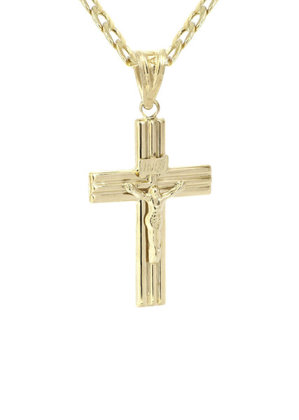10K Gold Cuban Link & Gold Cross Pendant | 3.67 Grams