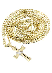10K Gold Cuban Link & Gold Cross Pendant | 4.12 Grams