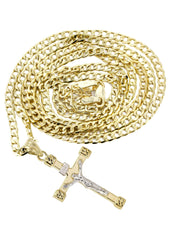 10K Gold Cuban Link & Gold Cross Pendant | 4.17 Grams