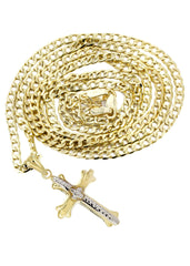 10K Gold Cuban Link & Gold Cross Pendant | 3.81 Grams chain & pendant FROST NYC