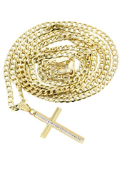 10K Gold Cuban Link & Gold Cross Pendant | 4.51 Grams