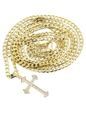 10K Gold Cuban Link & Gold Cross Pendant | 4.23 Grams