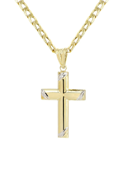 10K Gold Cuban Link & Gold Cross Pendant | 3.55 Grams