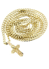 10K Gold Cuban Link & Gold Cross Pendant | 2.8 Grams chain & pendant FROST NYC
