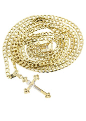10K Gold Cuban Link & Gold Cross Pendant | 3.3 Grams