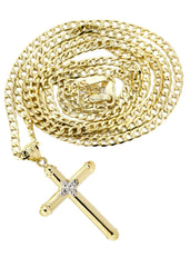 10K Gold Cuban Link & Gold Cross Pendant | 3.12 Grams