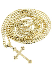10K Gold Cuban Link & Gold Cross Pendant | 2.9 Grams chain & pendant FROST NYC