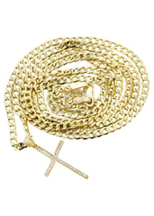 10K Gold Cuban Link Chain & Gold Cross Pendant | 4.18 Grams