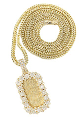 14K Yellow Gold Diamond Dog Tag Pendant & Franco Chain | 2.76 Carats