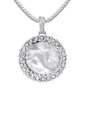 14K White Gold Diamond Round Picture Pendant & Franco Chain | 0.63 Carats | Appx. 16 Grams