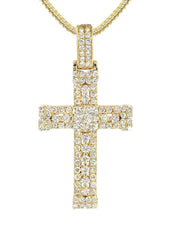 14K Yellow Gold Diamond Cross Pendant & Franco Chain | 1.04 Carats