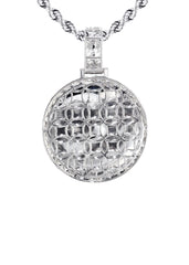 14K White Gold Diamond Round Picture Pendant & Rope Chain | 3.11 Carats | Appx. 20.6 Grams