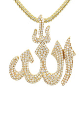 14K Yellow Gold Diamond Allah Pendant & Franco Chain | 2.1 Carats