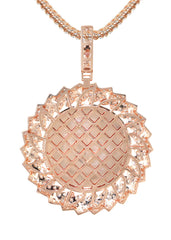 14K Rose Gold Diamond Round Picture Pendant & Franco Chain | 3.85 Carats | Appx. 13 Grams