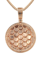 14K Rose Gold Diamond Round Picture Pendant & Franco Chain | 4.25 Carats | Appx. 20.9 Grams