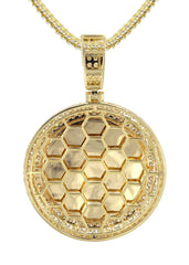 14K Yellow Gold Diamond Round Picture Pendant & Franco Chain | 4.25 Carats | Appx. 21 Grams