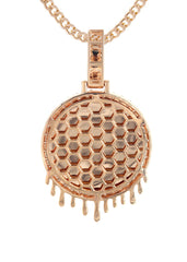 14K Rose Gold Diamond Round Drip Picture Pendant & Cuban Chain | 2.5 Carats | Appx. 21.4 Grams