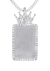 14K White Gold Diamond Crown Dog Tag Picture Pendant & Cuban Chain | 1.4 Carats | Appx. 17.2 Grams