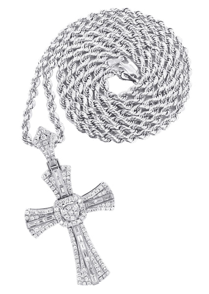 14K White Gold Diamond Cross Pendant & Rope Chain | 2.46 Carats