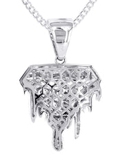 14K White Gold Diamond Drip Pendant & Cuban Chain | 1.85 Carats