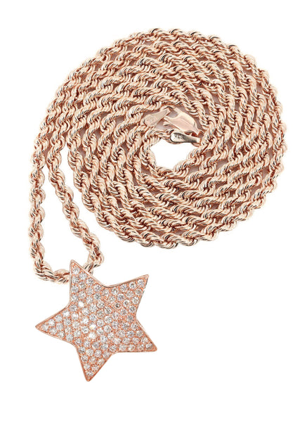 14K Rose Gold Diamond Star Pendant & Rope Chain | 1.65 Carats