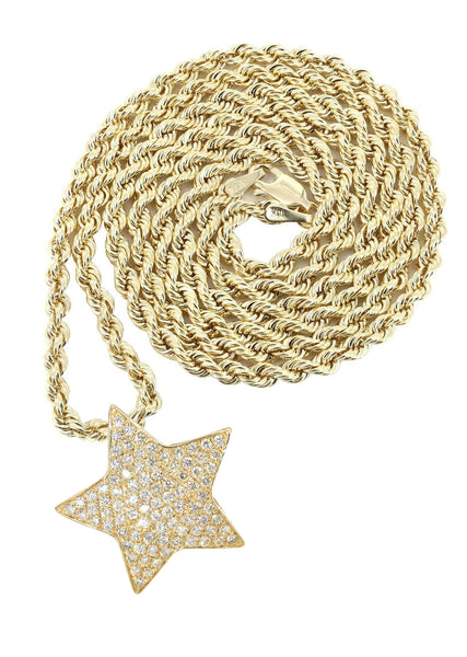 14K Yellow Gold Diamond Star Pendant & Rope Chain | 1.65 Carats