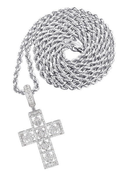 14K White Gold Diamond Cross Pendant & Rope Chain | 1.65 Carats