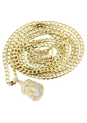 10K Gold Cuban Link Chain & Gold Jesus Piece Pendant | 4.14 Grams chain & pendant FROST NYC