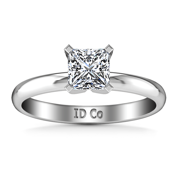 Solitaire Princess Cut Diamond Engagement Ring Comfort Fit  14K White Gold
