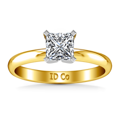 Solitaire Diamond Princess Cut Engagement Ring Comfort Fit 14K Yellow Gold