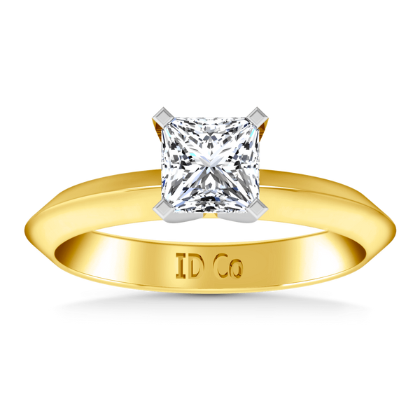Solitaire Diamond Engagement Ring Knife Edge Princess Cut Diamond 14K Yellow Gold