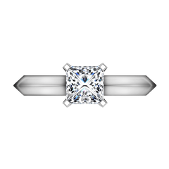 Solitaire Princess Cut Diamond Engagement Ring Knife Edge 14K White Gold engagement rings imaginediamonds