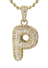 "10K Yellow Gold Rope Chain & Bubble Letter ""P"" Cz Pendant 