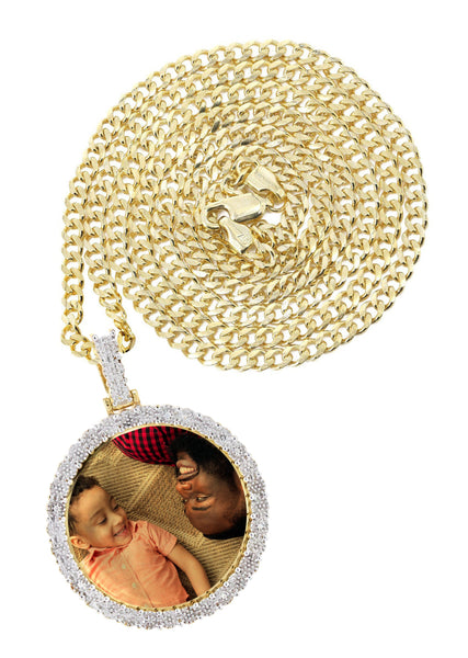10K Yellow Gold Diamond Round Picture Pendant & Cuban Chain | Appx. 16 Grams