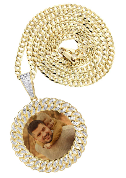 10K Yellow Gold Large Diamond Round Cuban Picture Pendant & Cuban Chain | Appx. 24 Grams