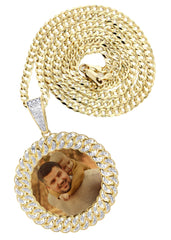 10K Yellow Gold Large Diamond Round Cuban Picture Pendant & Cuban Chain | Appx. 24 Grams MANUFACTURER 1