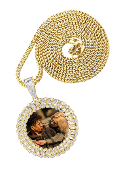 10K Yellow Gold Medium Diamond Round Cuban Picture Pendant & Franco Chain | Appx. 21 Grams