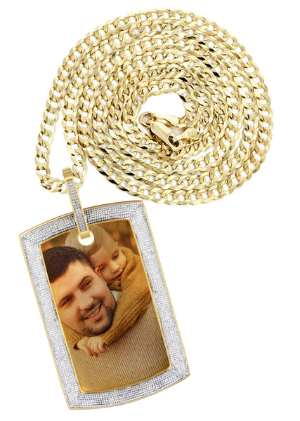 10K Yellow Gold Diamond Dog Tag Picture Pendant & Cuban Chain | Appx. 36 Grams