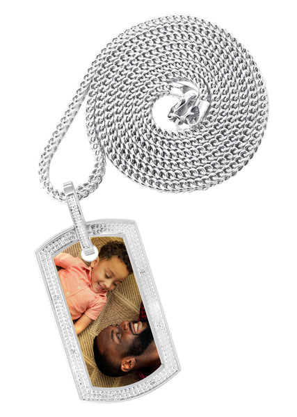 10K White Gold Diamond Dog Tag Picture Pendant & Franco Chain | Appx. 27 Grams