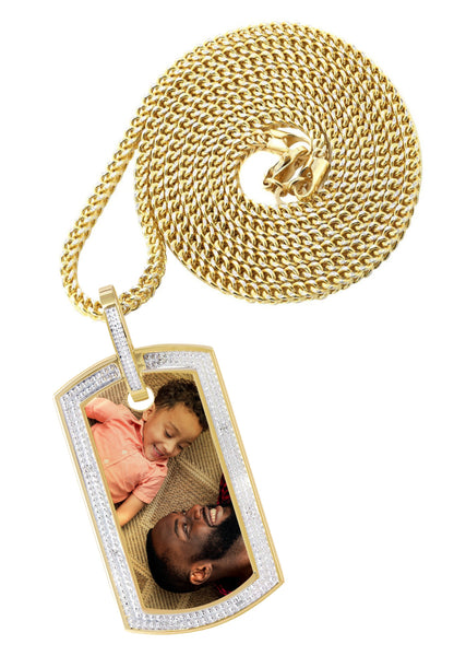 10K Yellow Gold Diamond Dog Tag Picture Pendant & Franco Chain | Appx. 27 Grams
