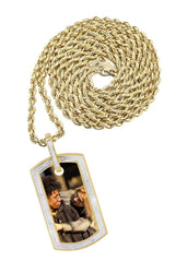 10K Yellow Gold Diamond Dog Tag Picture Pendant & Rope Chain | Appx. 20 Grams