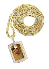 10K Yellow Gold Diamond Dog Tag Picture Pendant & Cuban Chain | Appx. 19 Grams