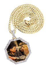 10K Yellow Gold Diamond Octagon Picture Pendant & Cuban Chain | Appx. 22 Grams MANUFACTURER 1
