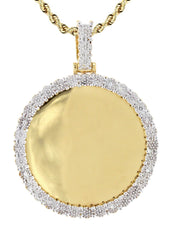 10K Yellow Gold Diamond Round Picture Pendant & Rope Chain | Appx. 19 Grams MANUFACTURER 1
