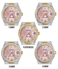 Gold Rolex Datejust  Watch 16233 for Men | 36Mm | Pink Dial | Jubilee Band