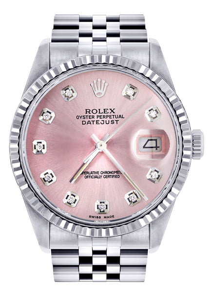Mens Rolex Datejust Watch 16200  | 36Mm | Pink Dial | Jubilee Band