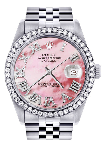Diamond Mens Rolex Datejust Watch 16200 | 36Mm | Pink Mother Of Pearl Roman Numeral Dial | Jubilee Band