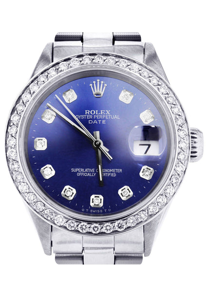 Diamond Rolex Date 34 MM | 2.25 CARAT | CUSTOM DIAMOND DIAL | OYSTER BAND