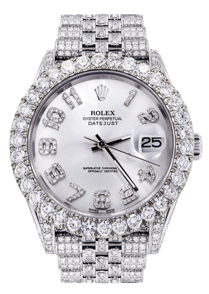 Diamond Iced Out Rolex Datejust 41 | 15.5 Carats Of Diamonds | Custom Silver Diamond Dial | Jubilee Band