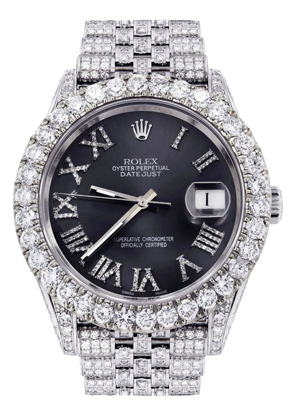 Diamond Iced Out Rolex Datejust 41 | 25 Carats Of Diamonds | Custom Grey Roman Diamond Dial | Jubilee Band